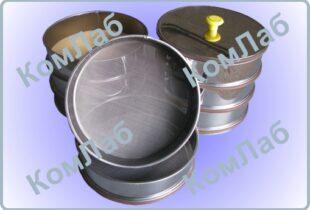 Набор сит для грунта КП-131НС d=200 мм с поддоном и крышкой из нержавеющей стали. Размеры ячеек: 0,1; 0,25; 0,5; 1,0; 2,0; 5,0; 10,0