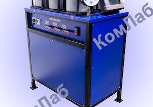 Установка для испытания бетона на водонепроницаемость УВБ-МГ4.01 в автоматическом режиме (по методу мокрого пятна) по ГОСТ 12730.5. Диапазон рабочих давлений 0…2,0 МПа.